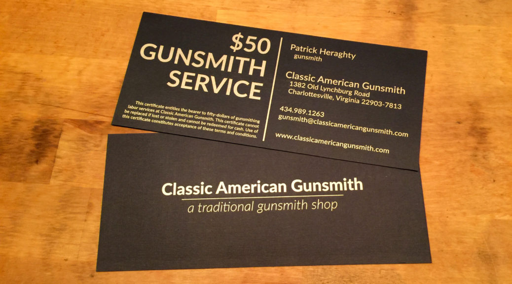 Classic American Gunsmith Gift Certificates