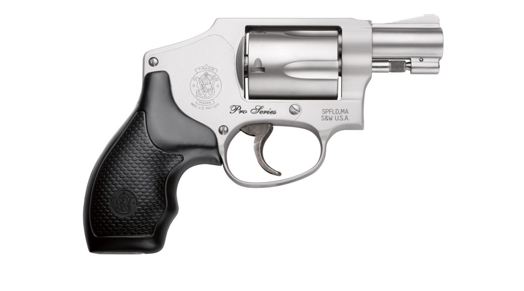 The right side view of the S&W Performance Center Pro Series Model 642 Revolver on a wight background.