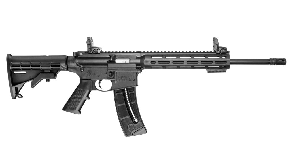 An image of the right side of a Smith & Wesson M&P 15-22 Sport Rifle on a white background.
